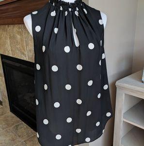 Ann Taylor black polka dot top